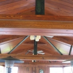 24 Common Cypress, Boathouse Ceiling, Tongue & Groove V-Joint, Stained