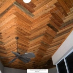 55 Mixed Old Growth/New Growth Pecky Herringbone Ceiling
